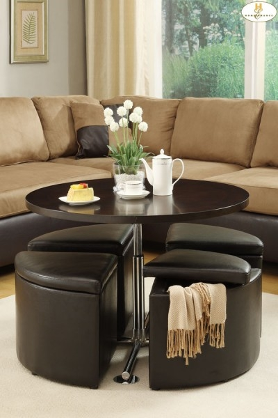 Great Famous Round Coffee Tables With Storages Intended For Round Coffee Table With Storage Ottomans (Image 25 of 50)