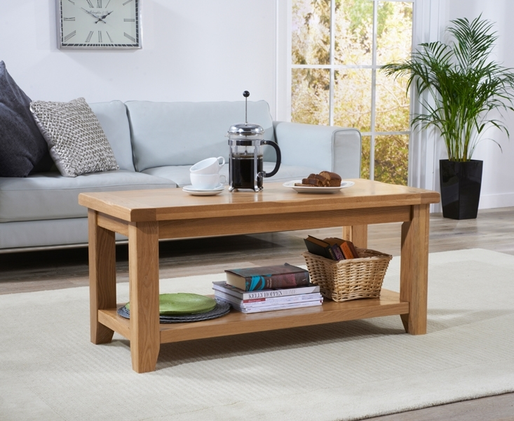 Great Famous Solid Oak Coffee Table With Storage Within Buy Mark Harris York Solid Oak Coffee Table With Storage Shelf (Image 19 of 50)