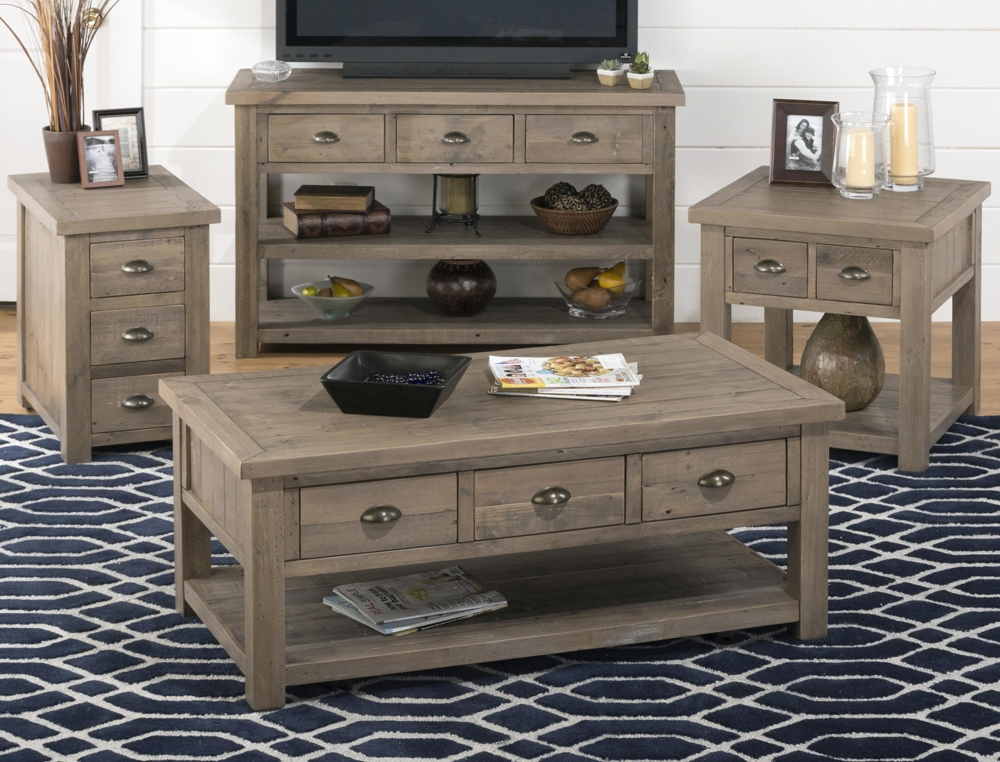 Great Famous Tv Cabinet And Coffee Table Sets With Jofran 940 1 Castered Reclaimed Pine Cocktail Table W3 Pull Thru (View 34 of 40)
