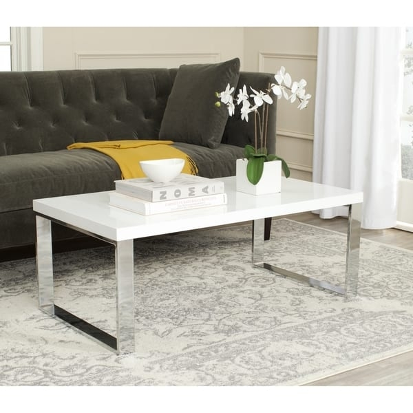 Great Famous White And Chrome Coffee Tables Within Safavieh Rockford White Chrome Coffee Table Free Shipping Today (Image 25 of 50)