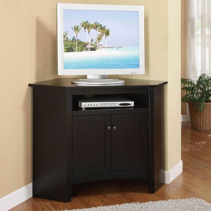 Great Famous Wood Corner TV Cabinets Within Corner Tv Stand With 2 Door Cabinets And Rustic Style (Image 18 of 50)