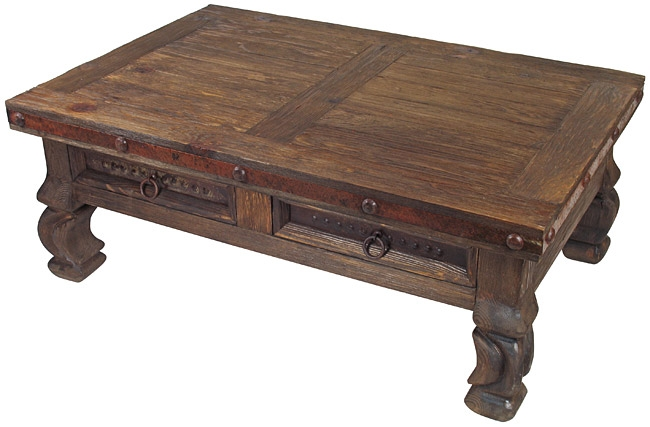 Great Fashionable Antique Rustic Coffee Tables Inside Old Wood Iron Banded Ox Yoke Coffee Table 4 Drawers (Image 28 of 50)