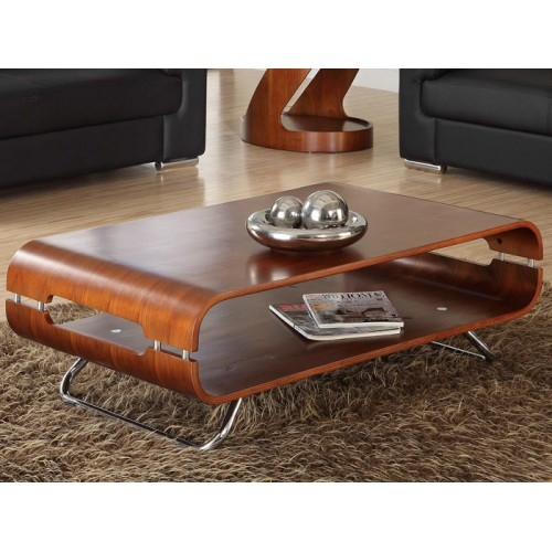 Great Fashionable Curve Coffee Tables With Regard To Jual Curve Coffee Table Walnut And Chrome Ebay (Image 20 of 50)