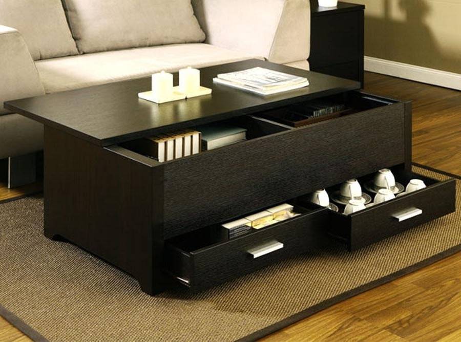 Great Fashionable Low Square Wooden Coffee Tables Within Magnificent Square Coffee Table With Drawers Design (Image 21 of 50)