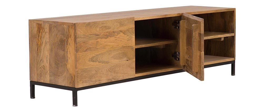 Great Fashionable Mango TV Stands Regarding Ypster Mango Wood And Metal Industrial Tv Stand Miliboo (View 21 of 50)