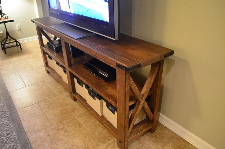 Great Fashionable Rustic TV Stands Within Rustic Wood Tv Stand Plans Home Design Ideas (Image 23 of 50)