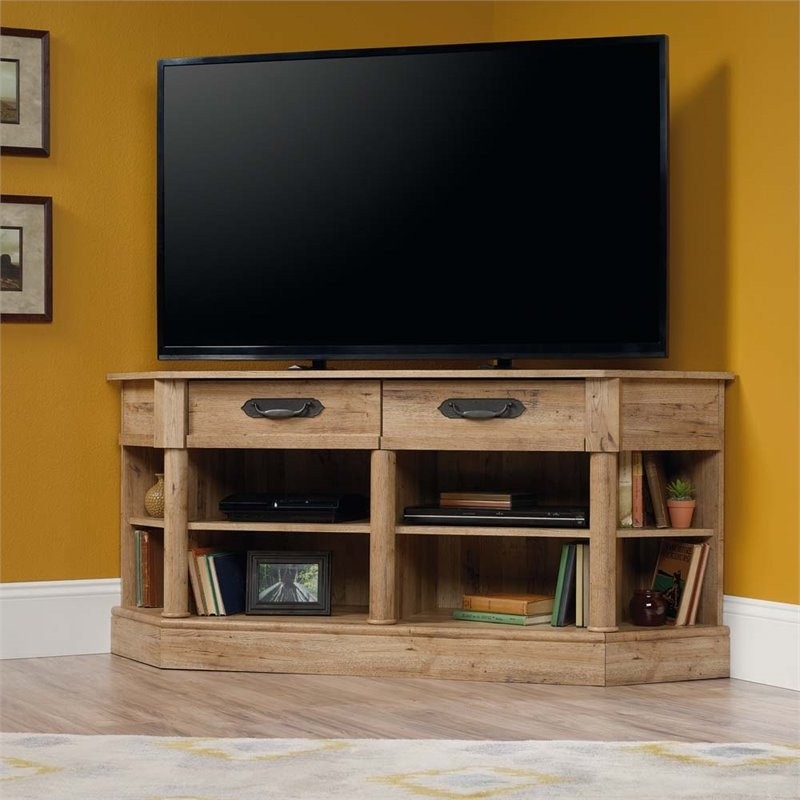 Great Favorite Corner TV Stands Intended For Sauder Viabella Corner Tv Stand In Antigua Chestnut  (Image 23 of 50)