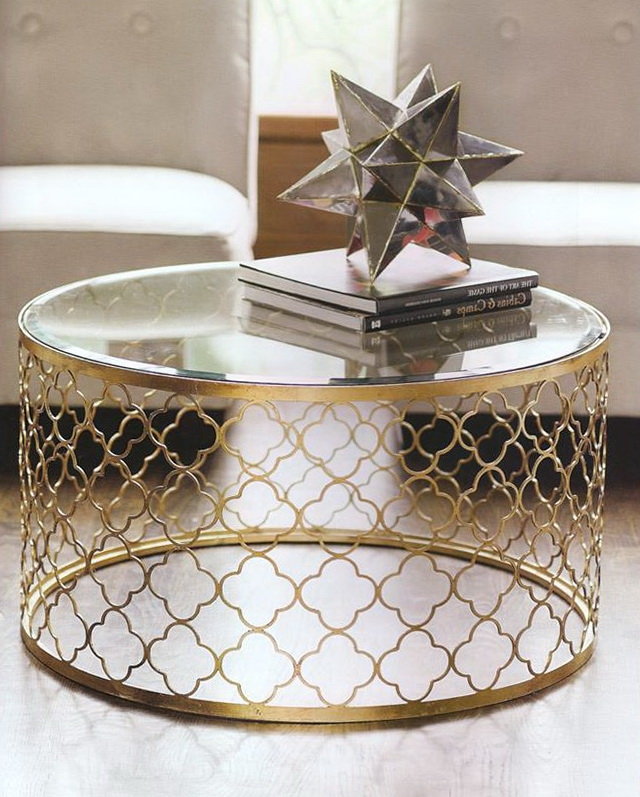 Great Favorite Glass Gold Coffee Tables Pertaining To Round Gold Coffee Table (View 19 of 50)