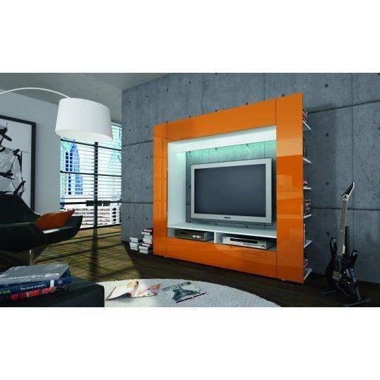 Great Favorite Orange TV Stands Regarding Ringo Design Tv Unit Orange High Gloss Cabinet Tv Stand Lounge (View 3 of 50)