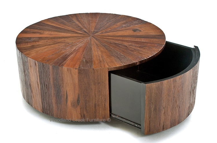 Great Favorite Round Coffee Tables With Drawer Inside Round Wood Coffee Table With Drawer Modern Rustic Design (Image 16 of 50)