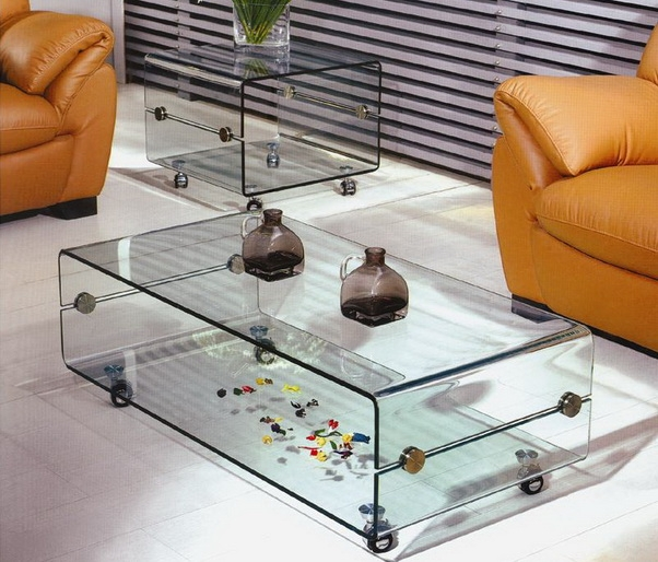 Great Favorite Transparent Glass Coffee Tables Intended For Coffee Table On Casters Move It Anytime Homesfeed (Image 18 of 50)