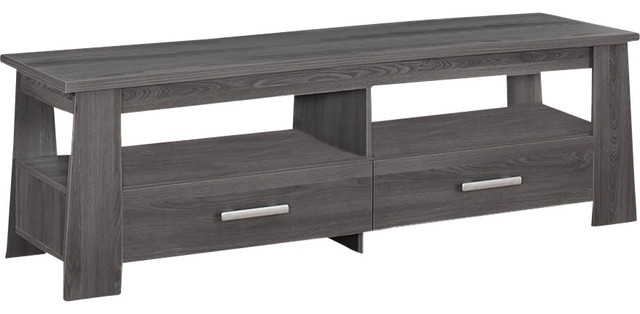 Great Favorite TV Stands With Drawers And Shelves With Regard To Living Room Dark Gray Tv Stand With 2 Drawers 2 Open Shelves (Image 25 of 50)