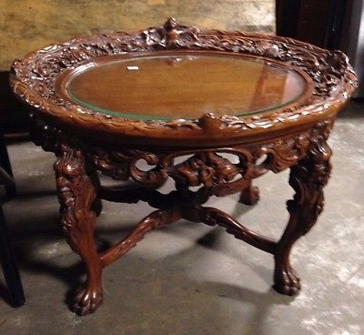 Great High Quality Antique Glass Top Coffee Tables Within Antique Ornate Clawfoot Cherub Wood Coffee Table With Glass Top (Image 20 of 50)