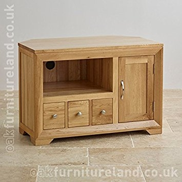 Great High Quality Corner Oak TV Cabinets Pertaining To Bevel Natural Solid Oak Corner Tv Cabinet Amazoncouk Kitchen (View 41 of 50)