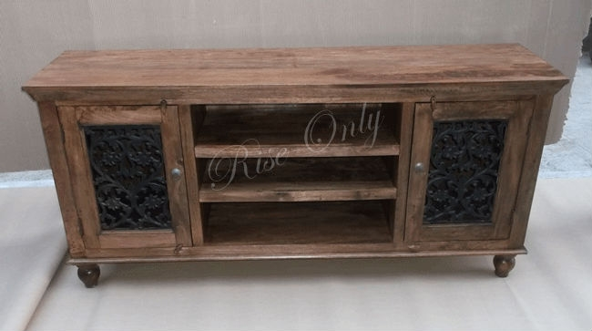 Great High Quality Country Style TV Cabinets Throughout Sheesham Wooden Ethnic Dubai Country Style Tv Cabinets With Iron (Image 25 of 50)