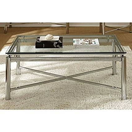 Great High Quality Glass And Chrome Coffee Tables Throughout Amazon Living Room Silver Chrome And Glass Coffee Table (Image 25 of 50)