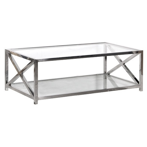Great High Quality Glass Steel Coffee Tables Intended For Glass And Chrome Coffee Table (Image 23 of 50)
