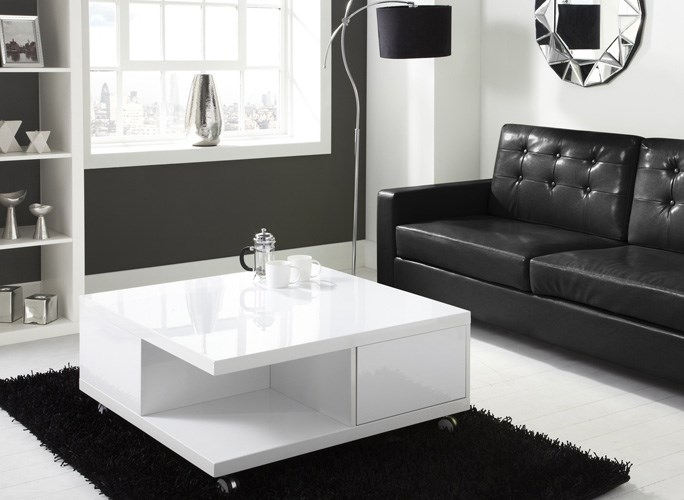 Great High Quality Gloss Coffee Tables With Regard To Tiffany White High Gloss Square Storage Coffee Table Furniture (View 29 of 50)