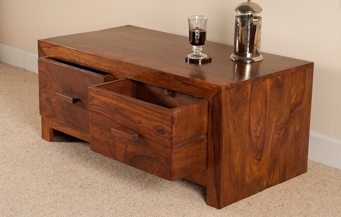 Great High Quality Sheesham Coffee Tables With Sheesham Wood Coffee Table 4 Drawer Storage Casa Bella (View 45 of 50)