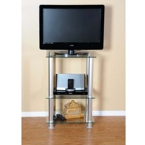 Great High Quality Slim TV Stands Regarding Rta Extra Tall Clear Glass And Aluminum 27 Tv Stand Tvm  (Image 26 of 50)