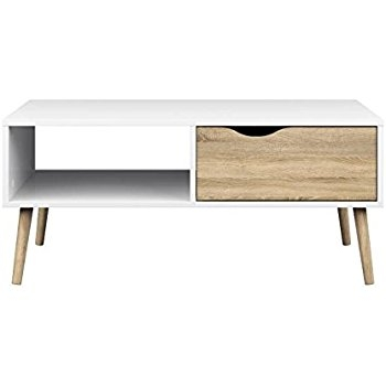 Great High Quality White And Oak Coffee Tables For Amazon Homcom 40 Mid Century Modern Coffee Table White (Image 22 of 50)