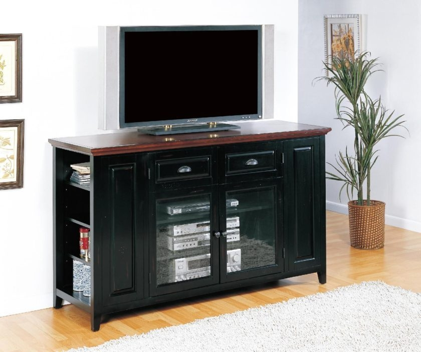 Great Latest Black TV Stands With Glass Doors Regarding Black Tv Stands With Glass Doors Home Design Ideas (Image 19 of 50)