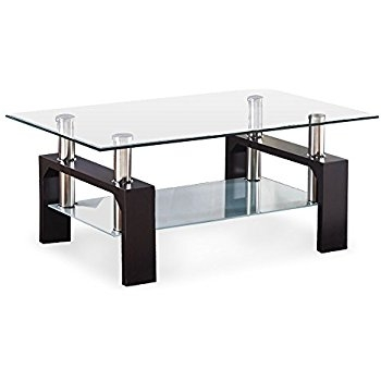 Great Latest Glass And Chrome Coffee Tables Inside Amazon Global Furniture Usa 2 Tier Glass Top Coffee Table W (Image 26 of 50)
