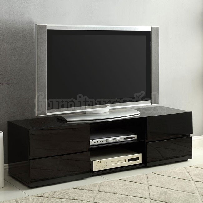 Great Latest Gloss TV Stands With Regard To High Gloss Black Tv Stand W Storage Drawers Coaster Furniture (Image 28 of 50)