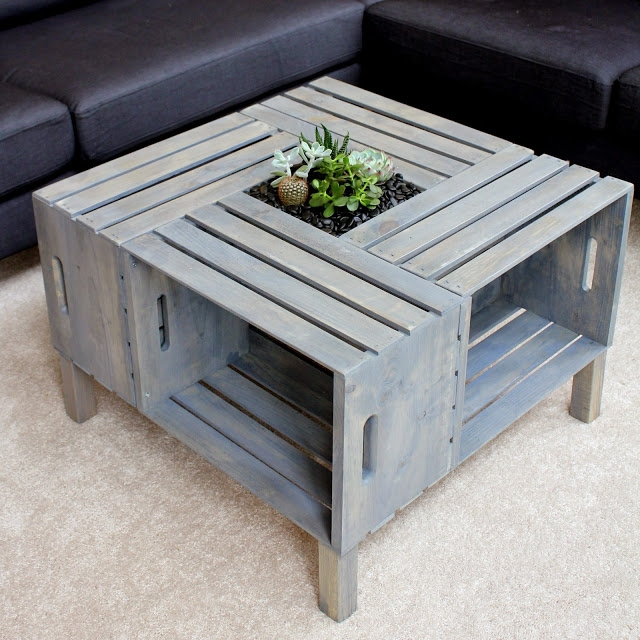 Great Latest Gray Wood Coffee Tables Throughout 20 Diy Wooden Crate Coffee Tables Guide Patterns (Image 18 of 50)
