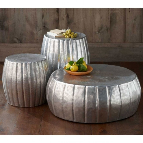 Great Latest Hammered Silver Coffee Tables Inside Silver Hammered Drum Tables Collection Vivaterra (Image 26 of 50)