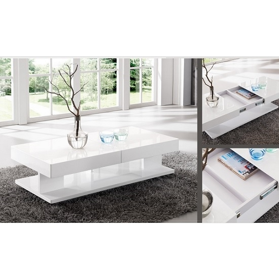 Great Latest High Gloss Coffee Tables Inside Verona Extendable High Gloss Coffee Table In White  (Image 22 of 40)