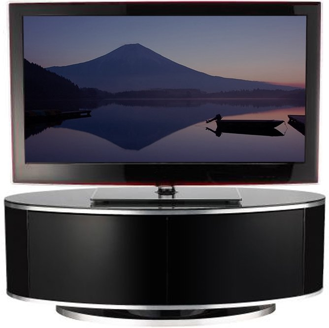 Great Latest Oval TV Stands Inside Luna High Gloss Black Oval Tv Cabinet (View 48 of 50)