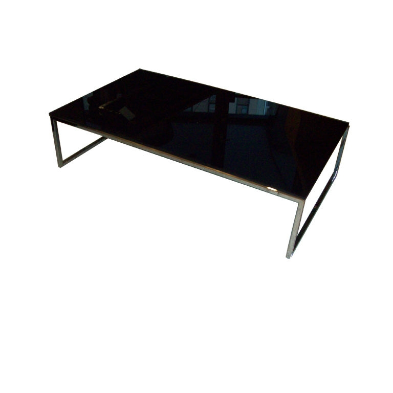 Great Latest Rectangle Glass Chrome Coffee Tables Pertaining To Black Glass Coffee Table (Image 26 of 50)
