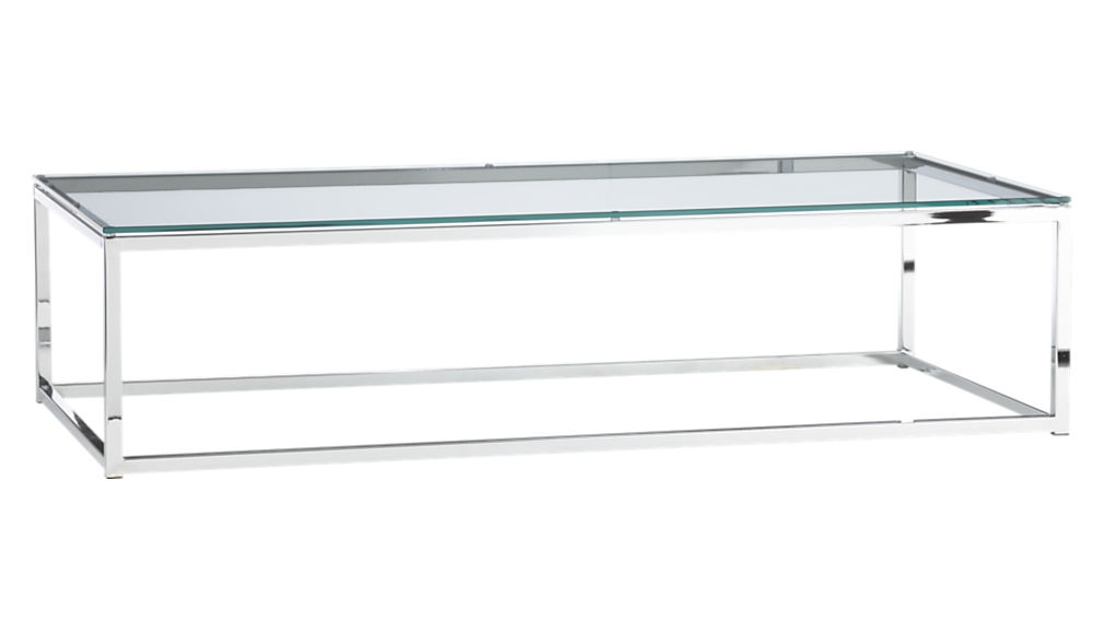 Great Latest Rectangle Glass Chrome Coffee Tables Throughout Glass Rectangular Coffee Table Idi Design (View 19 of 50)