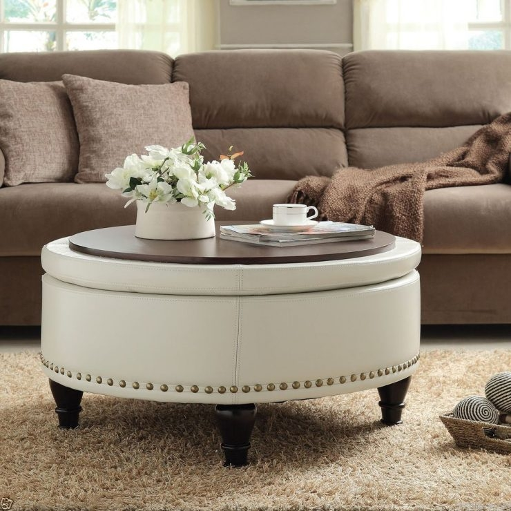 Great Latest Round Upholstered Coffee Tables Inside Great Large Ottoman Coffee Table Design (Image 17 of 40)