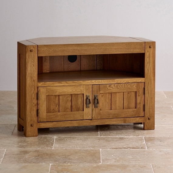 Great Latest Solid Oak TV Stands In Corner Widescreen Tv Cabinets Oak Furniture Land (Image 22 of 50)
