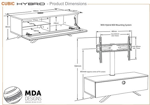 Great New Beam Thru TV Stands For Mda Designs Cubic Hybrid Complete Walnut And Black Amazoncouk (View 47 of 50)