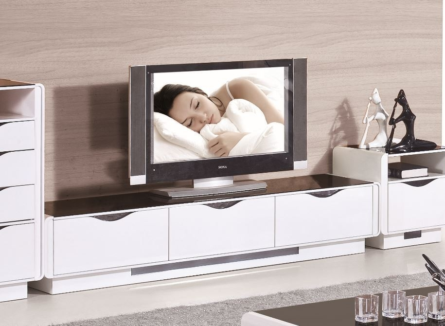 Great New Contemporary White TV Stands Intended For 2309 Modern White Tv Stand (Image 21 of 50)