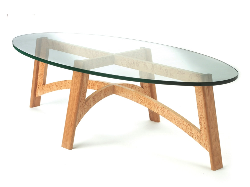Great New Glass And Oak Coffee Tables In Coffee Table Oval Glass Table Large Bespoke Coffee Table In Oak (Image 22 of 50)