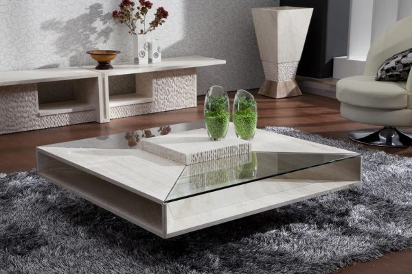 Great New Glass And Stone Coffee Table Throughout Beautiful Marble Living Room Tables For Glass And Stone Coffee (Image 21 of 50)