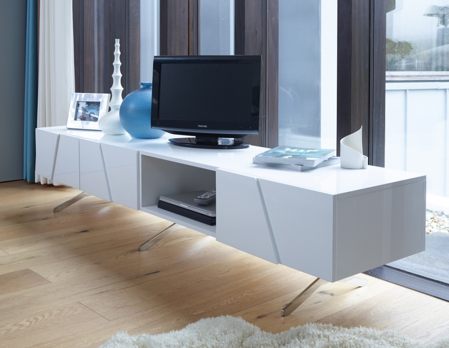 Great New Long White TV Stands With Regard To Abdabs Furniture Glacier Large White Open Tv Stand (Image 23 of 50)