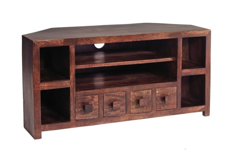 Great New Real Wood Corner TV Stands Within Furniture Solid Wood Corner Media Cabinet With Open Shelf Anf (View 18 of 50)