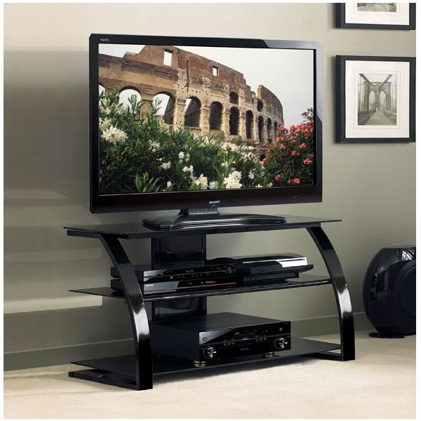 Great New Shiny Black TV Stands Inside Bello High Gloss Black Tv Stand Pvs4204hg Tv Stands Mounts (Image 25 of 50)