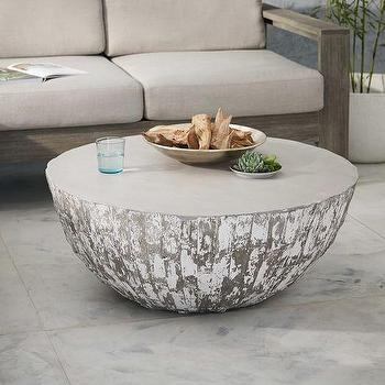 Great New Silver Drum Coffee Tables Pertaining To Tambor Concrete Outdoor Drum Coffee Table (Image 15 of 50)