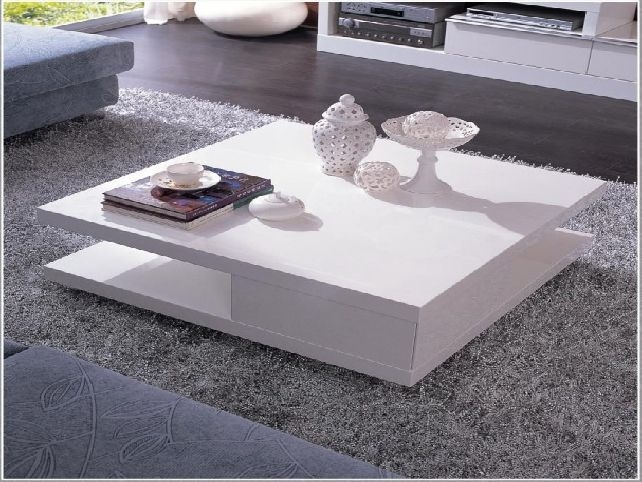 Great New Square White Coffee Tables Regarding White Lacquer Coffee Table (View 14 of 50)