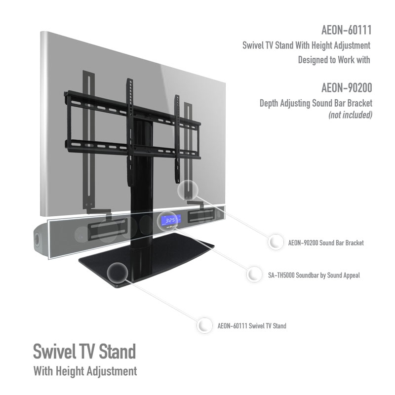Great Popular 44 Swivel Black Glass TV Stands For Universal Tabletop Tv Stand Swivel Height Adjustment Av (Image 23 of 50)