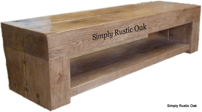 Great Popular Beam Through TV Stands Regarding Rustic Oak 2 Beam Cube Tv Stand With Shelf Simply Rustic Oak (Image 24 of 50)