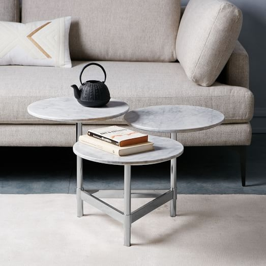 Great Popular C Coffee Tables Pertaining To Tiered Circles Coffee Table Marble West Elm (View 9 of 50)
