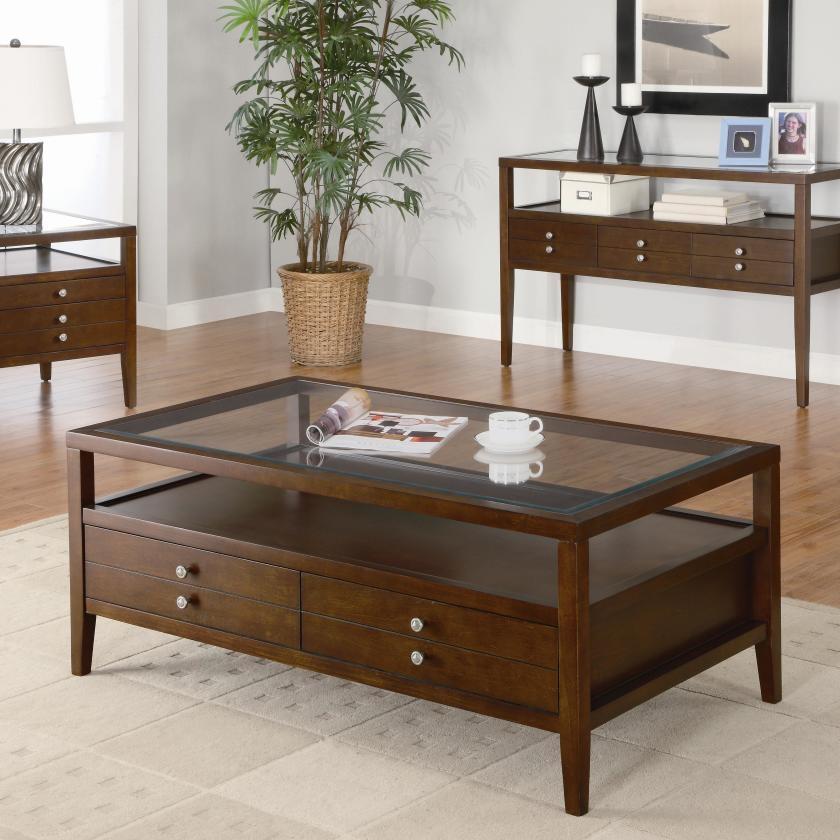 Great Popular Dark Wood Coffee Table Storages In Dark Wood Coffee Table With Glass Top Brown Shag Rugs Dark Wood (View 11 of 50)