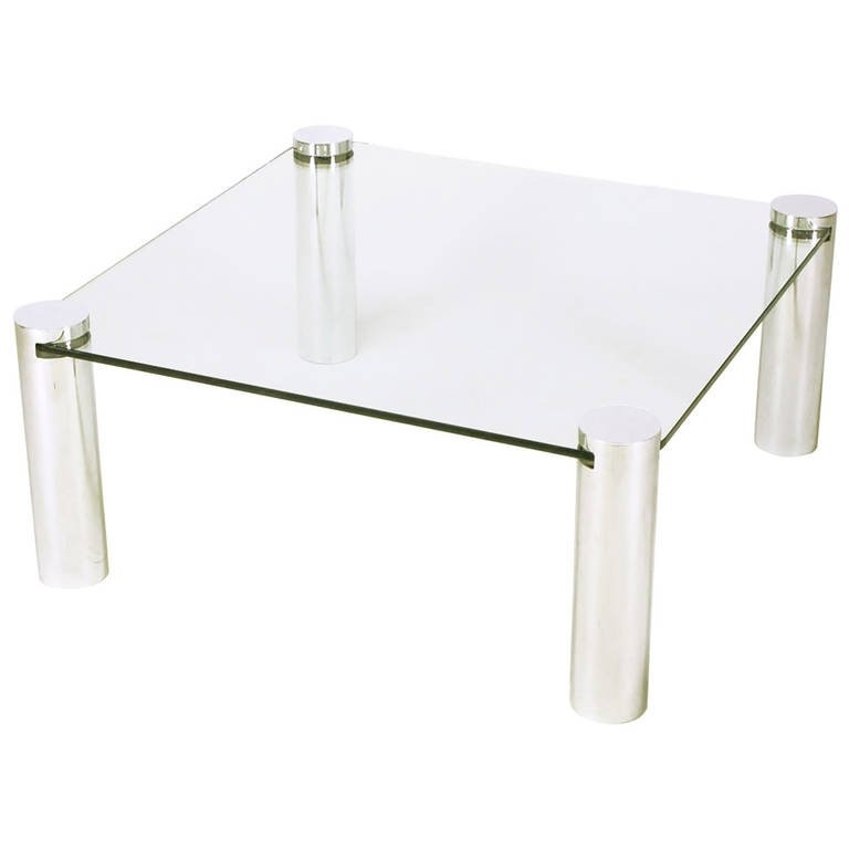 Great Popular Glass And Chrome Coffee Tables With Regard To Italian Style Chrome Cylinder And Glass Square Coffee Table For (Image 27 of 50)